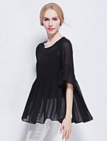 Fashion Women Clothing Loose Large Plus Size Chiffon 1/2 Sleeve Vest+Blouse Shirt Tops