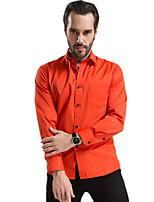 2015 Fashion Orange Men Shirts, Black Button, Long sleeve,Solid Color,Turn-down Collar, Single Breasted (1212)
