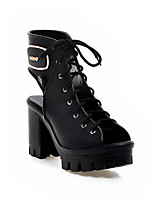 Women's Shoes Chunky Heel Heels/Open Toe Boots Outdoor/Casual Black/White