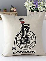 pays euro london vélo motifs coton / lin taie d'oreiller décoratif
