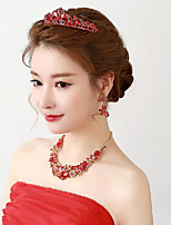 Red Rhinestons Titanium Necklace with Earrings Head piece