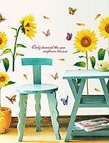 Wall Stickers Wall Decals, Sunny Sunflowers with Butterfly PVC Wall Stickers