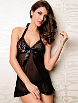 Women Lycra Black Sexy Lace Bow V Neck Halter Sleepwear Gowns