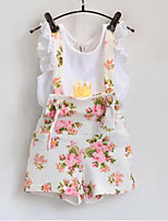 Baby  Floral Bib + crown T-shirt Suits (2 Pcs)