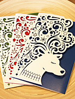 1pcs 3 Colors Laser Cut Cute Deer Christmas Greeting Card Party Invitaion Card Christmas Tree Decoration