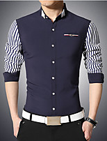 Men's Long Sleeve Shirt , Cotton Casual/Work Striped