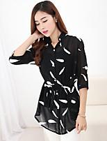Women's Casual Inelastic ¾ Sleeve Long Shirt (Chiffon)