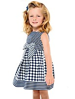 Summer Kids Girls Sleeveless Bow Belt Polka Dots Striped Princess Party  Dresses (Cotton Blends)