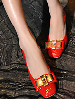 Women's Shoes Patent Leather Chunky Heel Heels/Square Toe/Closed Toe Pumps/Heels Dress/Casual Black/Red