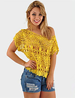 Women's Solid Blue/Red/Black/Yellow/Beige Blouse , Round Neck Short Sleeve Hollow Out