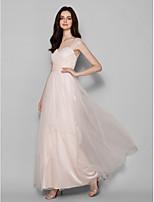 Brautjungfernkleid - Perlen Pink Tülle - Etui-Linie - bodenlang - Queen Anne-Ausschnitt