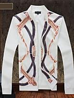 Men's Long Sleeve Jacket , Cotton/Polyester Casual/Sport/Plus Sizes Print