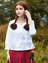 Women's Blue/White T-shirt , Round Neck ¾ Sleeve Bow/Embroidery