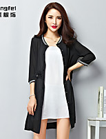 Women's White/Black Casual ¾ Sleeve Chiffon