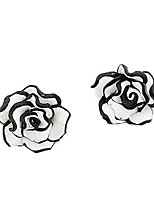 Sweet Black/White Rose Flower Stud Earrings
