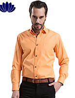 2015 Fashion Orange Men Shirts, Black Button, Long sleeve,Solid Color,Turn-down Collar, Single Breasted (1206
