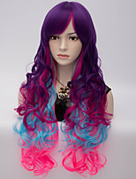 European and American Wind Fashion Color Big Volume High Temperature Wire Three Color Gradient Wig
