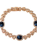 T&C Women's Noble 18k Rose Gold Plated Rhinestones Leaf and Blue Sapphire Crystal Princess Style Bracelet
