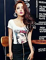 Tee-shirt Aux femmes Manches Courtes U Profond Coton