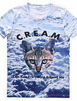 European Style TEE Digital Printing 3D T-shirt Flaky Clouds Kitten Harajuku Sleeved T-shirt