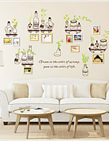 Wall Stickers Wall Decals, Green Leaves Bottles Photo Stickers