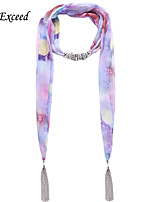 D Exceed   Women Summer Style Fashion Print Floral Chiffon Scarves Necklaces with Silver Tassel Light Purple Scarf