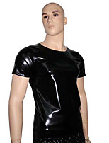 Cool Black Short Sleeves PU Leather Halloween Male Uniforms