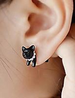 Single Stereo Pearl Cat Earrings