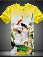 Men's Casual Slim Hawthorn Pattern Printed T-Shirt , Cotton / Polyester Casual / Plus Sizes Print