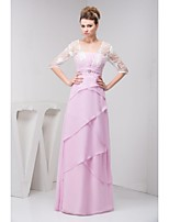 A-line Petite Mother of the Bride Dress - Blushing Pink Floor-length Half Sleeve Chiffon / Lace