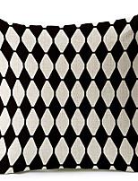 Modern Style Geometric Black & White Cotton/Linen Decorative Pillow Cover