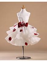 Flower Girl Dress - Princesa Coquetel Sem Mangas Cetim/Tule