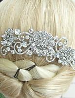 Wedding Silver-tone Clear Rhinestone Crystal Flower Hair Comb Bridal Headpiece Wedding Hair Comb