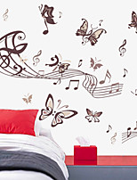 adesivos de parede do estilo decalques de parede a parede música borboleta adesivos pvc