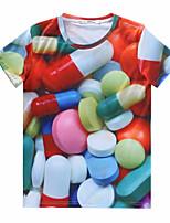 European Style TEE Digital Printing 3D T-shirt Multi Pill Harajuku Sleeved T-shirt
