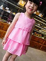 Cute Plaid Sleeveless Children Cake  Dress