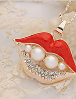New Arrival Fashional Hot Selling Popular Rhinestone Pearl Lips Necklace