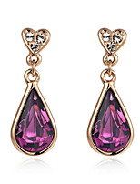 T&C Women's 18K Rose Gold Plated Jewelry Amethyst Purple Austria Crystal Waterdrop Earrings