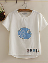 Women's Patchwork White T-shirt , Round Neck Short Sleeve