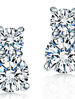 Women's Pear-Shaped Sterling Silver Stud Earrings With Cubic Zirconia