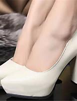 Women's Shoes Chunky Heel Pointed Toe Pumps/ Dress Black/Beige