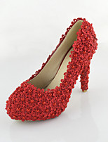 Women's Shoes Leatherette Stiletto Heel Heels Pearl Pumps/Heels Wedding/Party & Evening/Dress Red