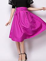 Women's Casual/Work Micro-elastic Medium Above Knee Skirts (Chiffon)