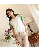 Women's Green/Orange Blouse , Print/Cute Crew Neck Short Sleeve