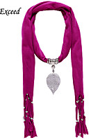 D Exceed  Women Cheap Polyester Solid Color Scarves with Alloy Hollow Out Leaf Pendant Rose Red Tassel Jewelry Scarfs