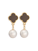 Women's Classic Elegant Clovers Pearl Stud Earrings HJ0067