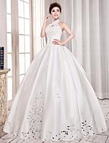 웨딩 드레스 - 아이보리(색상은 모니터에 따라 다를 수 있음) 볼 가운 바닥 길이 하이넥 사틴