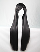 Cos Anime Bright Colored Wigs Long Black Straight  Hair Wig 80 cm