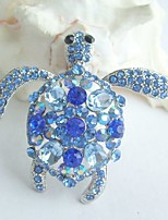 Women Accessories Silver-tone Blue Rhinestone Crystal Turtle Tortoise Brooch Art Deco Crystal Brooch