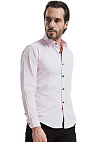 2015 Fashion Pink Men Shirts, Black Button, Long sleeve,Solid Color,Turn-down Collar, Single Breasted (1204)